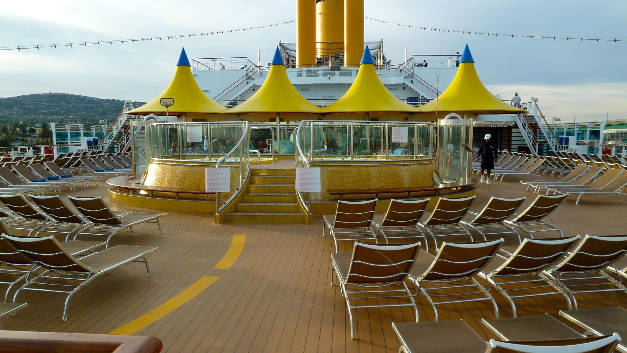 This is a forward-facing view from the fantail on Orchidea Deck.