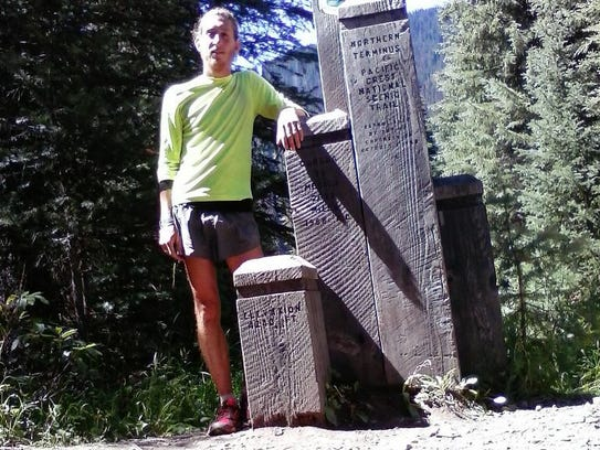 Noah Fredenberg at the end of the Pacific Crest Trail.
