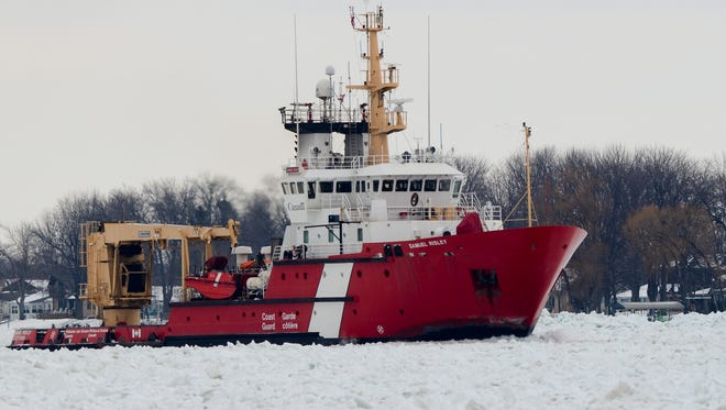 Canadian Coast Guard vessel Samuel Risley breaks through ice on the St. Clair River on Thursday near Marine City.