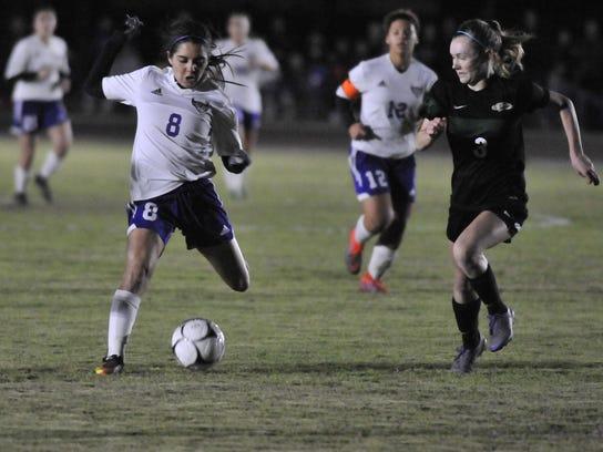 Mission Oak's Miranda Jimenez, left, drives the ball