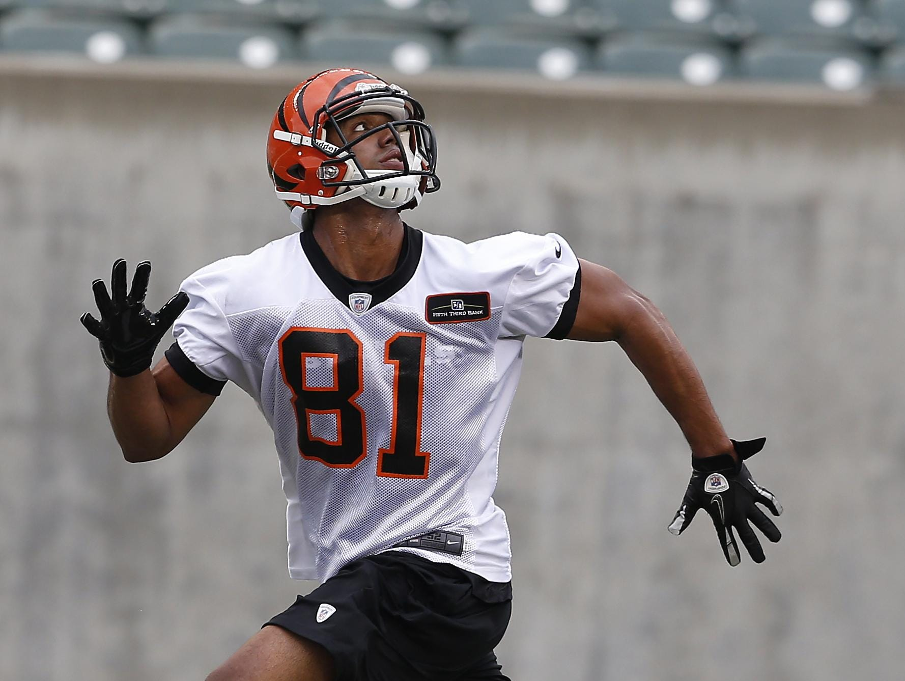 In 2013, Cincinnati Bengals unsigned wide receiver Nick Truesdell works out during rookie minicamp at Paul Brown Stadium.