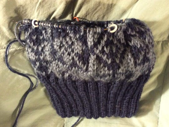 This is the hat I'm making for John. The colors are