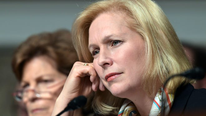 Sen. Kirsten Gillibrand, D-N.Y., right, was among senators who grilled Joint Chiefs of Staff members Thursday about sexual misconduct and other problems in the military.