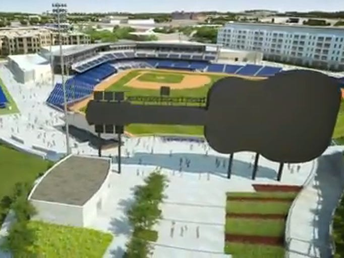 Rendition that shows the overall view from above of the 1st Tennessee Park, the new Sounds stadium, released on July, 8, Nashville, Tenn.