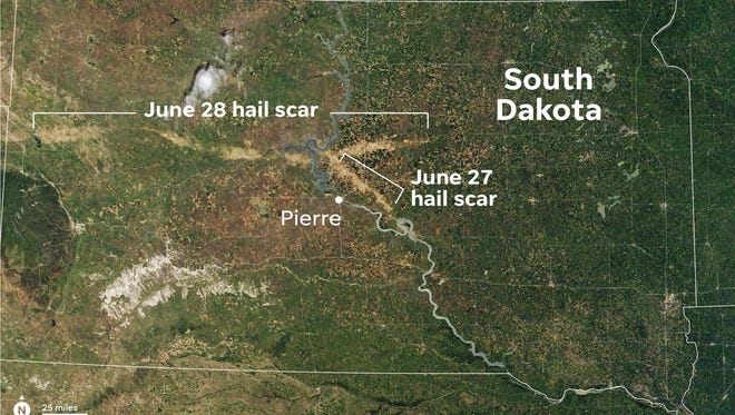 This July 7 image captures the light-brown hail scars across western and central South Dakota, as seen by NASA's Moderate Resolution Imaging Spectroradiometer (MODIS) aboard NASA's Terra satellite.
