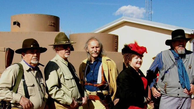 Re-enactors in period costumes attend Camp Furlong Day at Pancho Villa State Park in Columbus, New Mexico. This year marks the 15th annual Camp Furlong Day at Pancho Villa State Park.