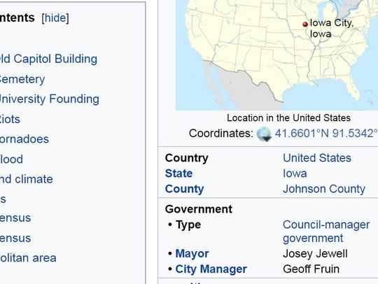 The Iowa City Wikipedia page on Nov. 8, 2017.