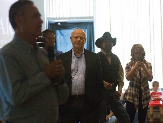 US Representative Steve Pearce, looks on as Tony Martinez