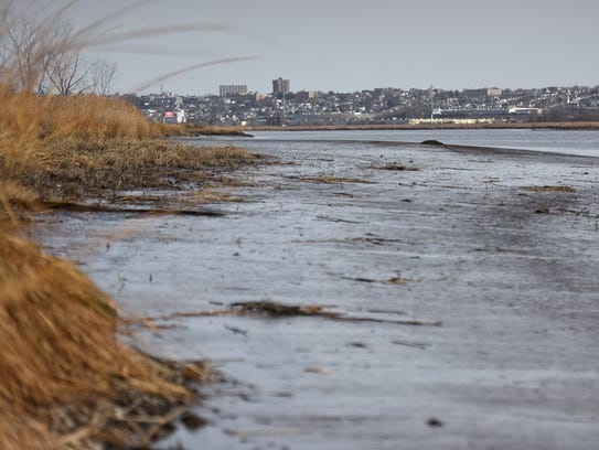 The Hackensack River seen from River Barge Park in