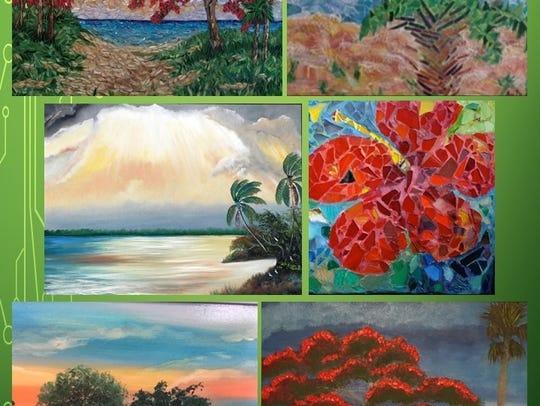 A collage of artwork by Anita Prentice and Doretha
