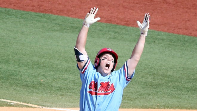 Catcher Henri Lartigue celebrates after producing a walk-off single against Auburn. He signed with the Philadelphia Phillies, ending his Ole Miss career.