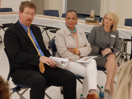 State Senator Joyce Elliott (center) is show with Education Commissioner Johnny Key and Deputy Education Commissioner Dr. Ivy Pfeffer during a visit to Nelson Wilkes Herron Elementary School in Mountain Home. Elliott squared off with Sen. Scott Flippo of Bull Shoals during a heated debate over adding work requirements for SNAP recipients.