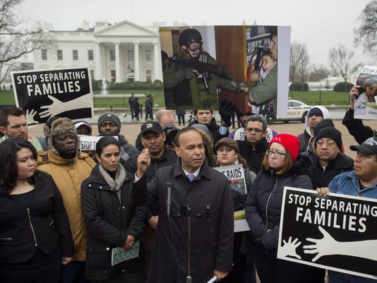 Protest against US Department of Homeland Security's plans to conduct raids to deport families from Central America
