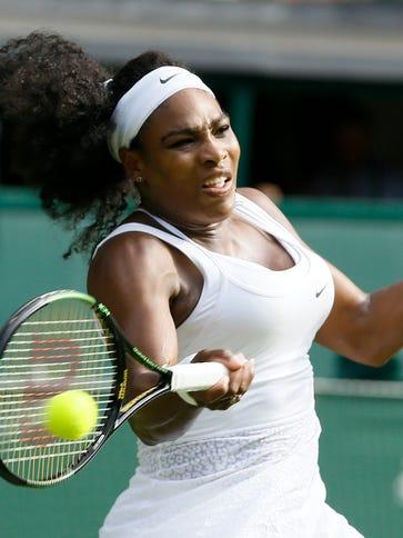 Serena Williams returns to Heather Watson of Britain,