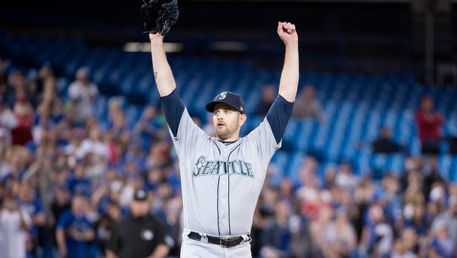 May 8, 2018: Seattle Mariners left-hander James Paxton tosses the third no-hitter of the 2018 season and the sixth in franchise history.