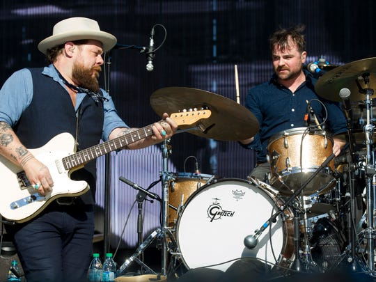Nathaniel Rateliff (left) and Patrick Meese perform with the Night Sweats during the March Madness Music Festival at Margaret T. Hance Park in Phoenix on Sunday, April 2, 2017.
