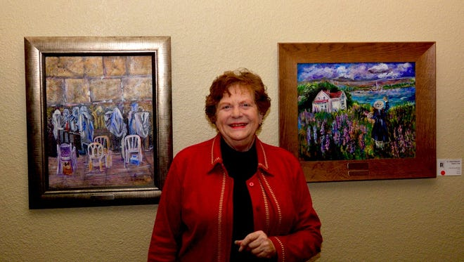Judy Braddy's paintings, tied together thematically by a hat, are featured in an exhibit at The Forum.
