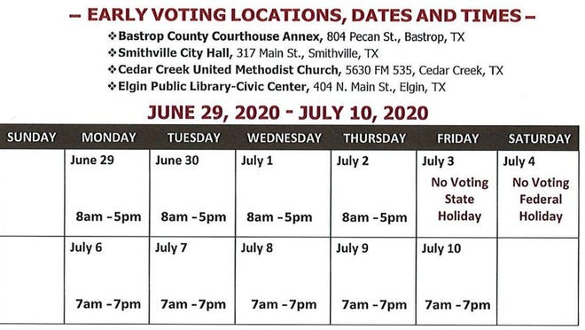 Early voting hours for the upcoming runoff and special elections in Bastrop County.