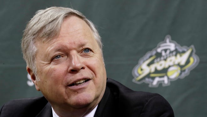 In this Associated Press file photo, Seattle Storm coach Dan Hughes speaks during the WNBA basketball team's media day in Seattle. Hughes, a 1977 Muskingum graduate who is battling an undisclosed form of cancer, delivered the commencement speech during Muskingum's graduation on Saturday. He coached the Storm to the WNBA title in 2018.