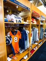 A simulated locker room at the NFL Experience in the Phoenix Convention Center on Friday, Jan. 23, 2015.