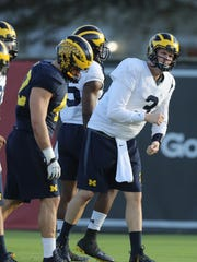 Michigan Wolverines quarterback Wilton Speight goes through drills during practice for the upcoming Orange Bowl against Florida State on Tuesday, December 27, 2016 at Barry University in Miami Shores, Fla.