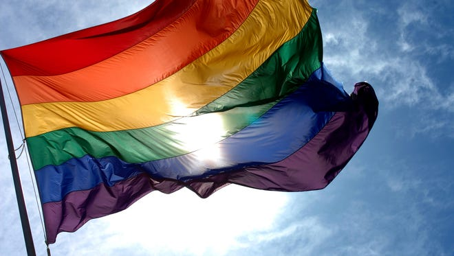 Rainbow pride flag.