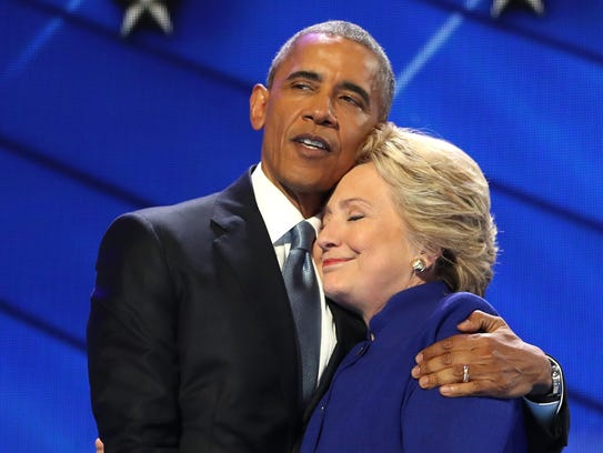 President Obama and Hillary Clinton attend the Democratic
