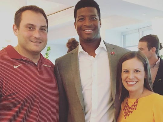 Former FSU offensive  lineman John Frady and wife Carley with Bucs quarterback and former Seminole Jamies Winston.