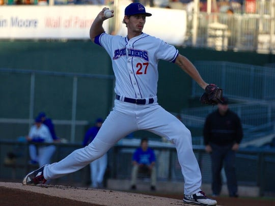 Rockland Boulders pitcher Marcus Solbach in action