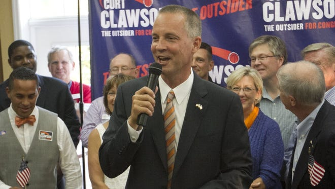 Republican Rep. Curt Clawson speaks at an election party on June 24, 2014, in Bonita Springs, Fla.