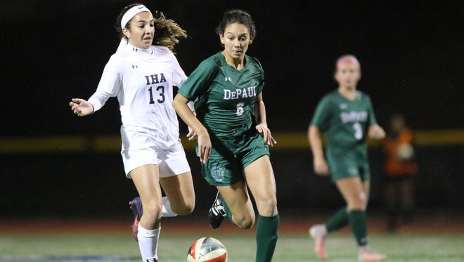 DePaul's Alyssa Oviedo (right) tied the score at 1 with a first-half goal against Immaculate Heart.