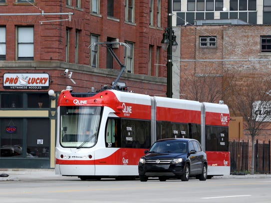 The QLine heads south on Woodward in Detroit on Tuesday,