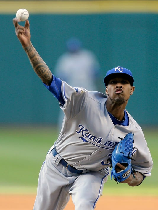 Kansas City Royals starting pitcher Yordano Ventura delivers in the first inning of a baseball game against the Cleveland Indians, Friday, May 6, 2016, in Cleveland. (AP Photo/Tony Dejak)