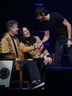 Chris Janson greets Randy and Mary Travis during the Randy Travis tribute concert Wednesday, Feb. 8, 2017, at Bridgestone Arena.