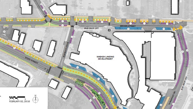 This is the parking scheme planned near Wabash Landing and the Levee area in connection with the State Street project.