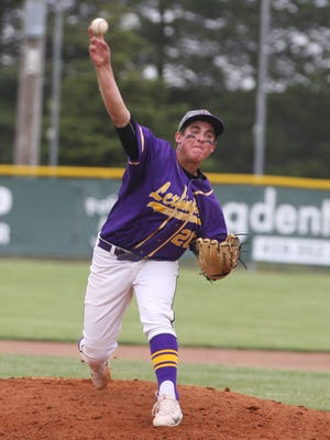 Jared Strickler pitches for Lexington in a Division II regional final loss,  2-0 to Maumee at Bowling Green on May 26, 2017.