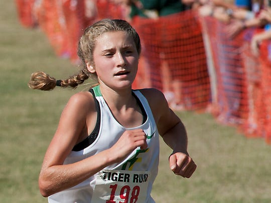 Floyd Central senior Sydney Liddle (right) finished second in the state semifinals.