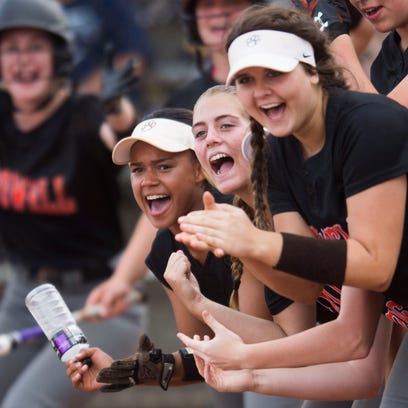 Powell players cheer on a a teammates home run during