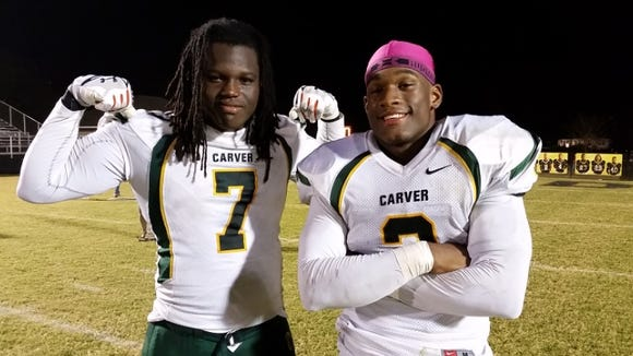 "G.W. Carver juniors Marlon Davidson, left, and Lyndell ""Mack"" Wilson are both Rivals 5-stars."