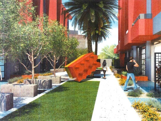 A Lego-style public art piece is part of a developer