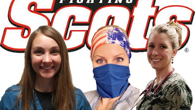 Trio of former Monmouth College softball players serve as healthcare workers. (L to R): Kelsey (Barnes) Barger, Kaitlyn (Winkler) Damewood and Lauren Bergstresser-Petoskey.