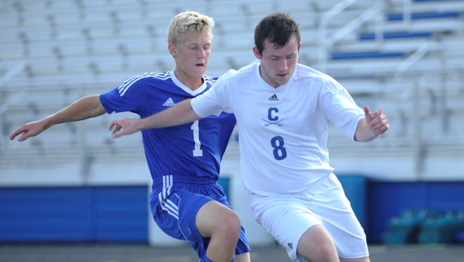 Chillicothe's Spenser Cheek dribbles past a defender during an earlier season game against Washington Court House at Herrnstein Field. Cheek has played an imperative role in the Cavaliers' success this season.