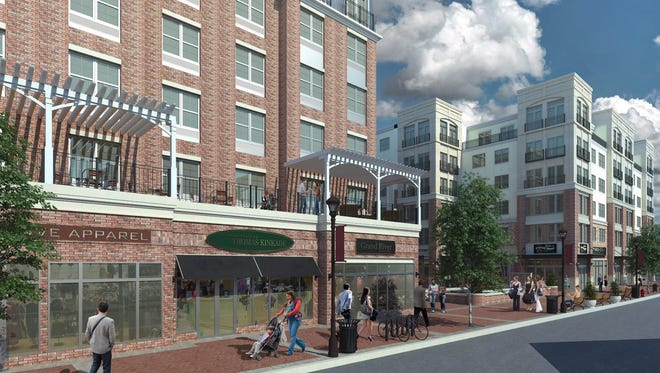 An architectural rendering of the proposed Courthouse Square development on Main Street in Flemington.