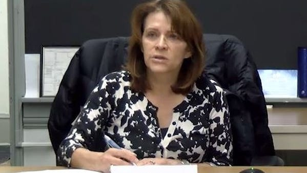 Edith Claros, chair of the Worcester Board of Health, in a screen capture from streaming video of a meeting March 2