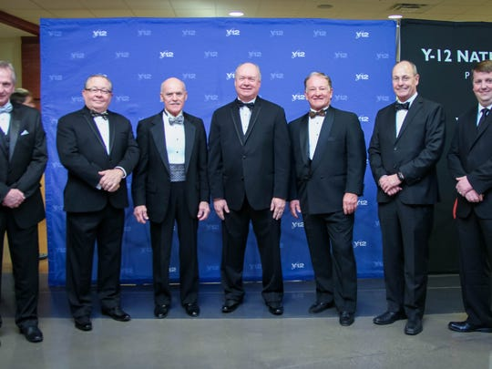 Former chairmen of the board attending the Anderson County Chamber of Commerce 85th anniversary gala are Larry Stephens, Steve Heatherly, Bear Stephenson, Rick Meredith, Joe Hollingsworth, George Paynter and Stephen Harris.