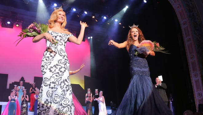 Hannah Zimmerman, left, and Matti-Lynn Chrisman won the swim and talent contests, respectively, during the first night of competition at Miss Ohio on Thursday.