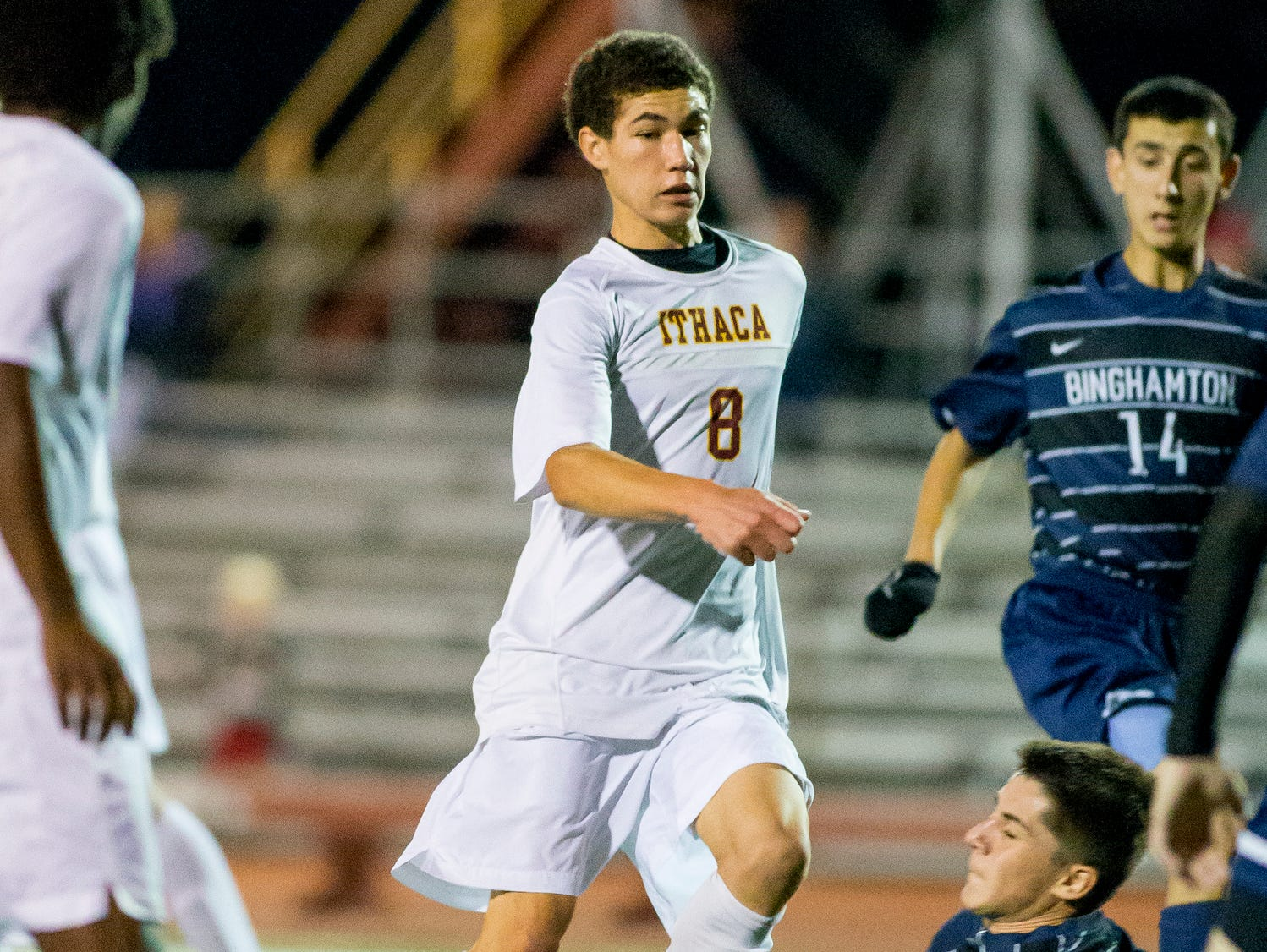 Ithaca senior Mason Wolff is pictured on Oct. 7 against Binghamton, in a game won by the Little Red, 7-0. Ithaca hosts Oneonta in the Southern Tier Athletic Conference semifinals at 1 p.m. Saturday at Moresco Stadium.
