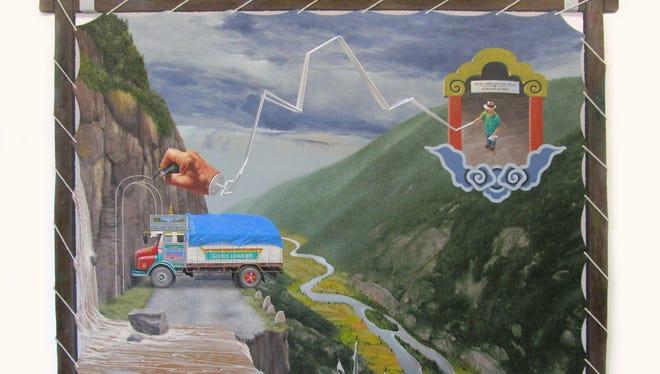 "Barry Buxkamper, ""Wobble 5: Leaving Bhutan,"" 2015, acrylic on canvas."