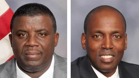 Chrispin Eugene, left, and Vilair Fonvil, right,  are opponents in the Democratic Spring Valley trustee primary.