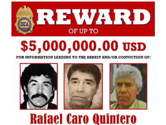 Top portion of a DEA reward poster for Rafael Caro Quintero.